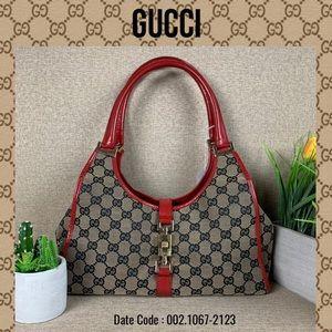 Gucci satchel bag canvas red handbag